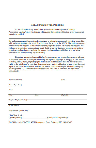 copy right release form