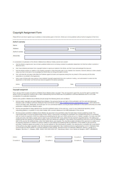 copyright assignment form template
