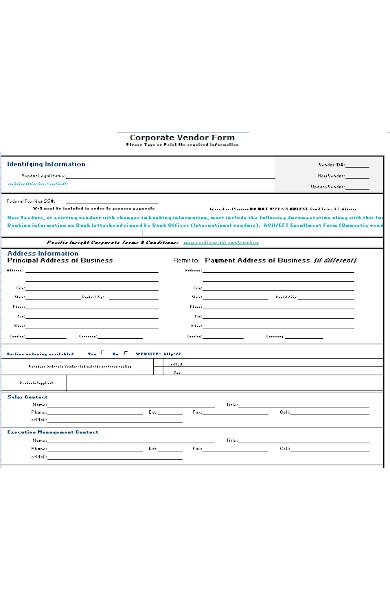 corporate vendor form