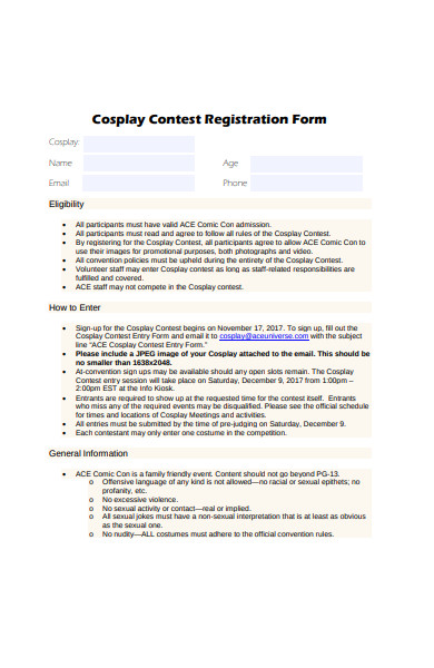 cosplay contest registration form