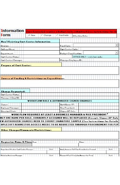 cost information form