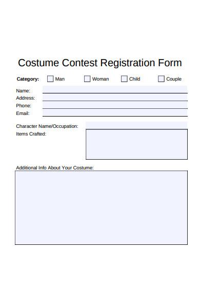 costume contest registration form