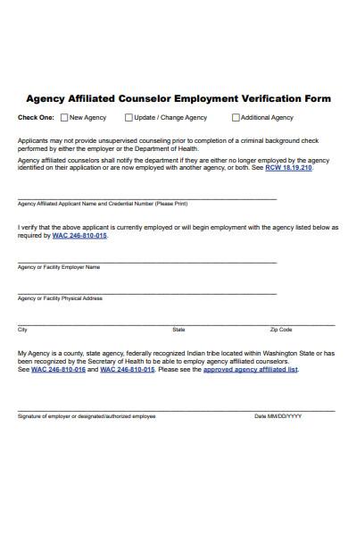 counselor employment verification form