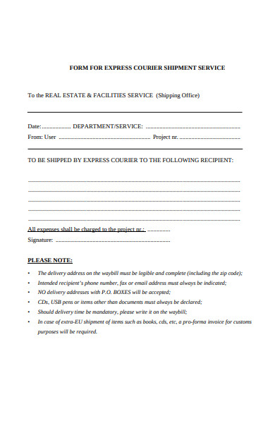 courier customer service form