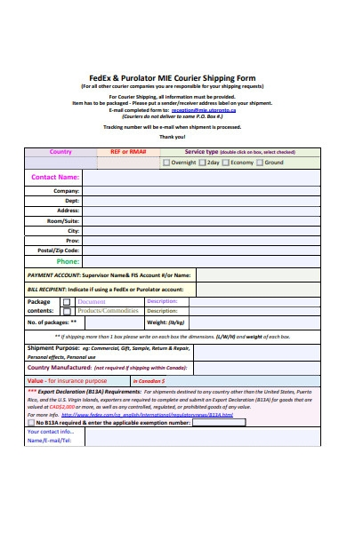 courier shipping form