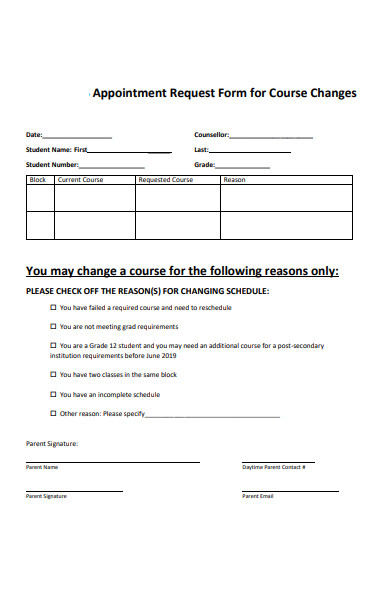course change appointment request form