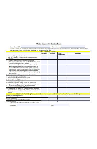 course design evaluation form