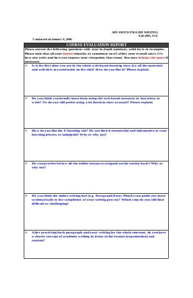 course evaluation report form