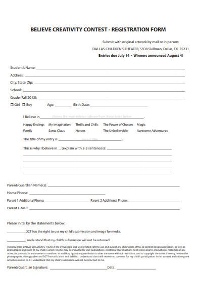 creativity contest registration form