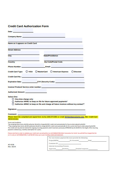 credit card authorization form in pdf