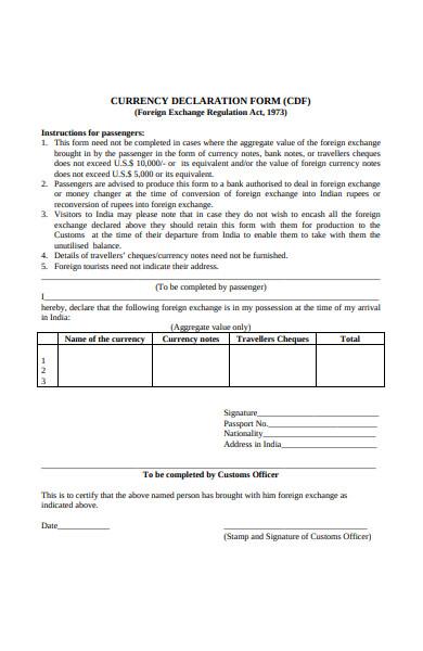 currency declaration form