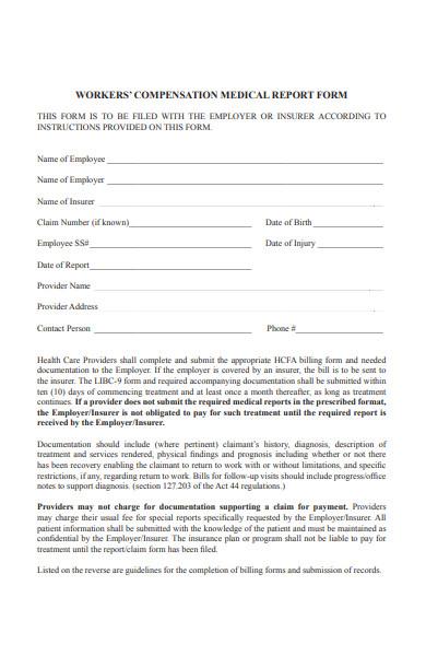 current medical report form