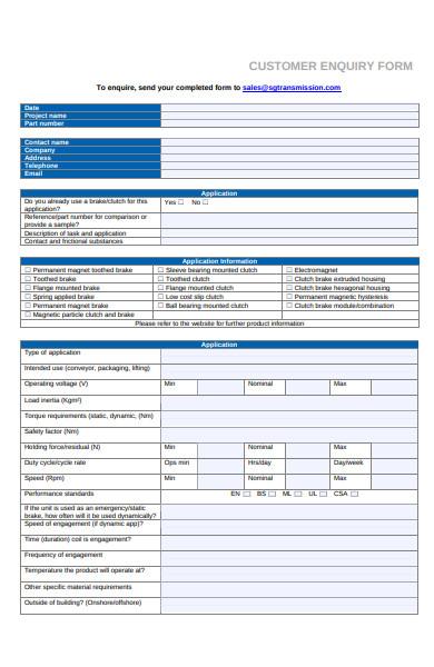 customer enquiry form