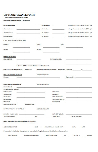 customer info file maintenance form