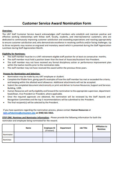 customer service award nomination form