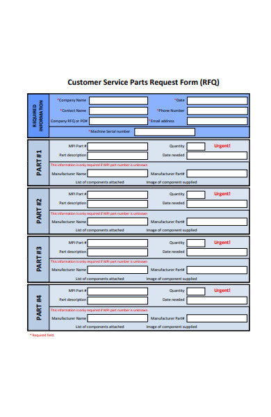customer service parts request form