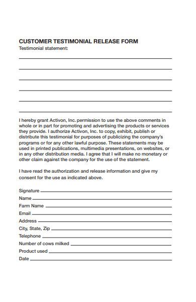 customer testimonial form