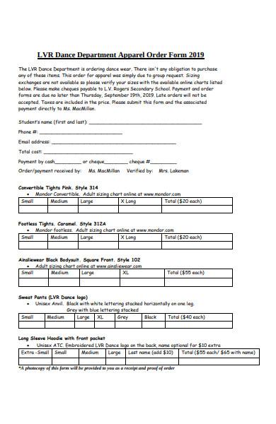 dance department apparel order form