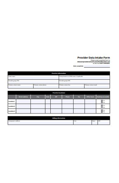data intake form