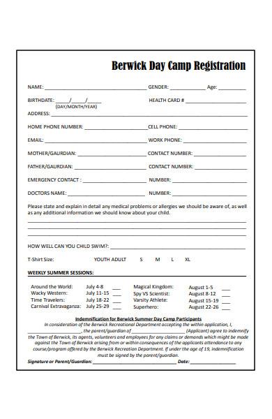 day camp registration form in pdf