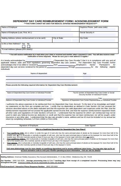 day care reimbursement form