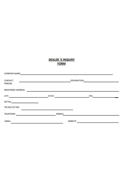 dealers enquiry form