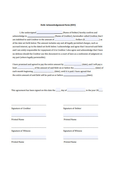 debt acknowledgement form