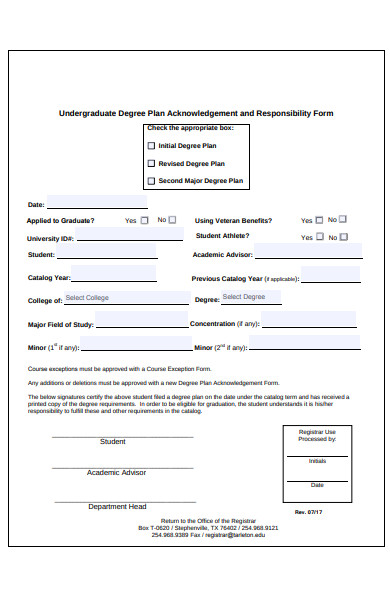 degree plan acknowledgement form