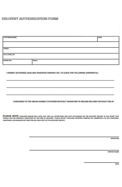 delivery authorization form