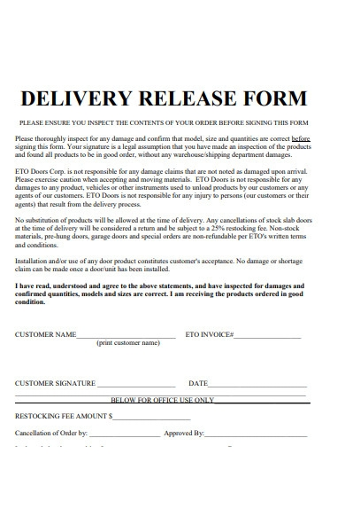 delivery release form