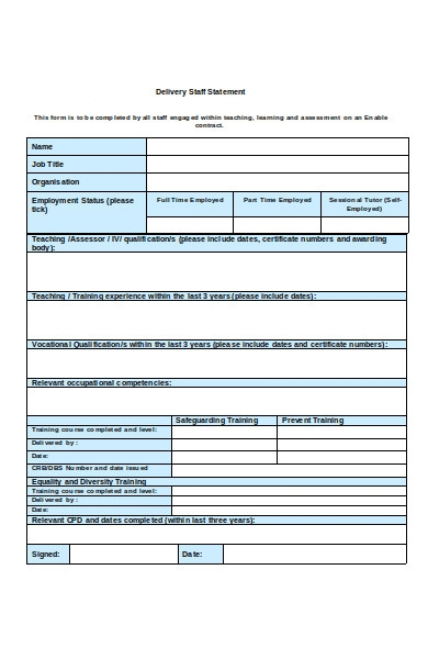 delivery staff form