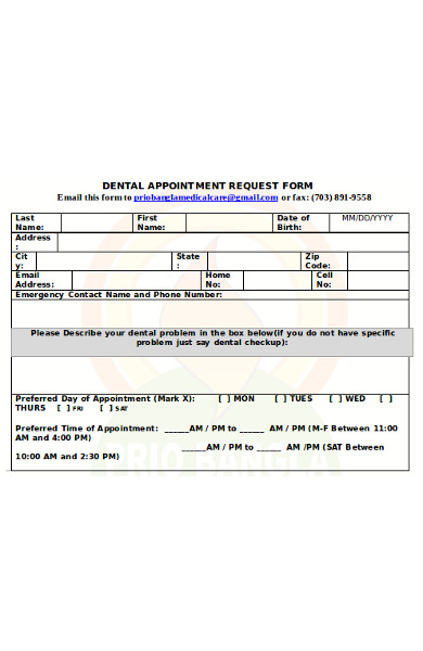 dental appointment request form
