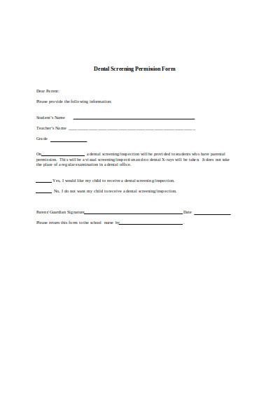 dental screening permission form