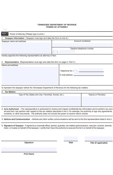 department power of attorney form