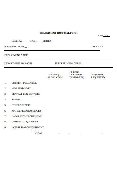 department proposal form