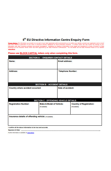 directive information centre enquiry form