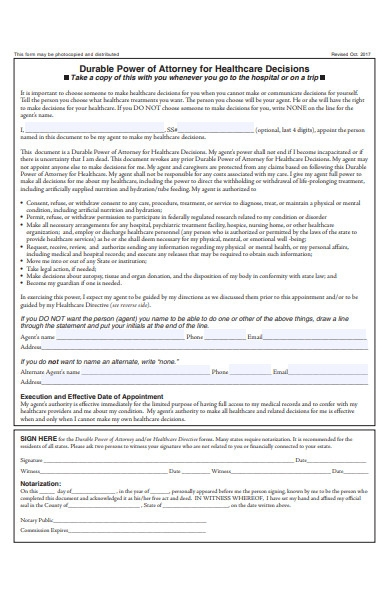 directive power of attorney form