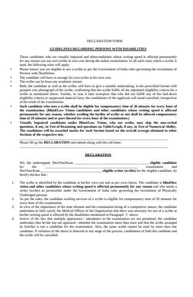disabilities declaration form