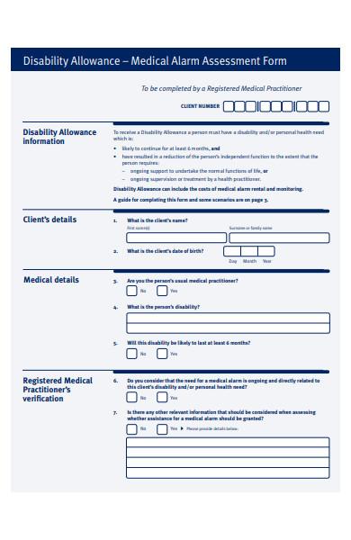 disability allowance assessment form