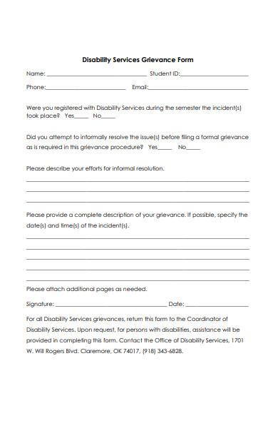 disability services grievance form