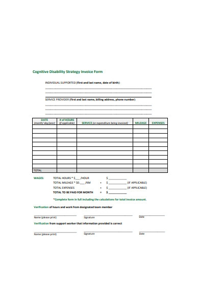 disability strategy invoice form