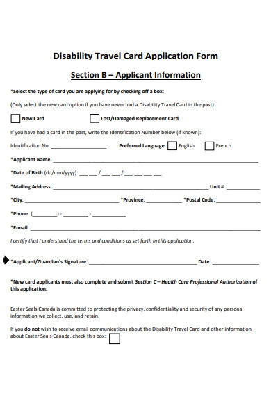 disability travel form