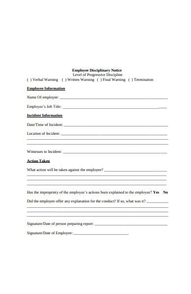 disciplinary information form