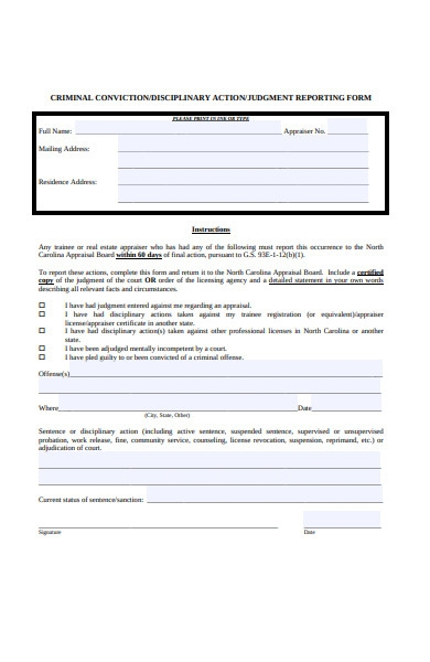 disciplinary judgement reporting form