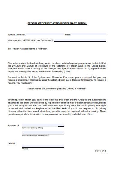 disciplinary order form