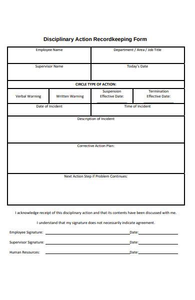 disciplinary record keeping form