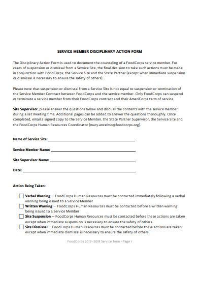 disciplinary service form