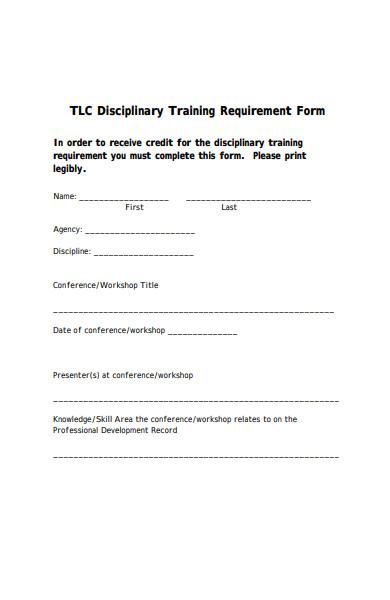 disciplinary training form