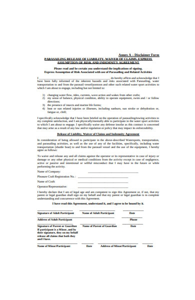 disclaimer agreement form