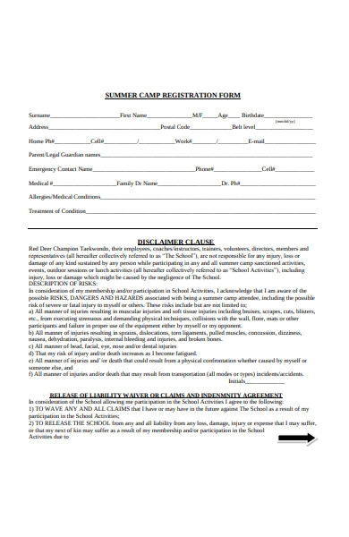 disclaimer form example